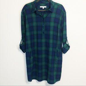 Southern Tide Alyssa shirt dress plaid size XL